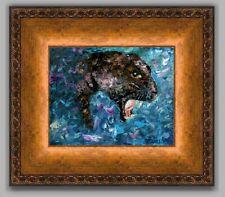 ANDRE DLUHOS Black Panther Wildlife Animal Leopard Cat FRAMED ORIGINAL Painting