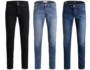 Mens JACK & JONES Stretch Denim Jeans Slim Fit New Glenn Sale Blue Black 30-36