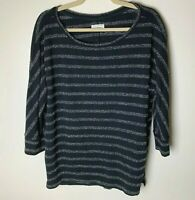 Lou & Grey Women's Top Size Large 3/4 Sleeves Black White Stripes Casual Work