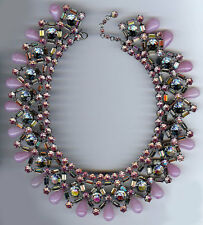 COUNTESS CIS VINTAGE GORGEOUS BLING PINK RHINESTONE GLASS BIB NECKLACE