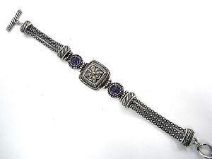RETIRED Brighton Purple Crystal Silver Gold Togle Bracelet
