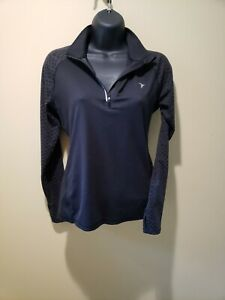WOMENS OLD NAVY ACTIVE BLACK ATHLETIC TOP 1/4-ZIP PULLOVER PETITE SMALL