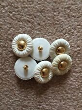 6 Cream Flower Sweet Shank Button Sewing 25mm
