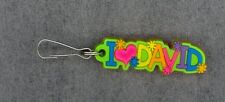 I Love David Zipper Pull+Pocketbook Purse Charm+Backpack Clip+Stocking Stuffer