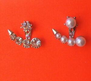 Pretty Silver Tone Faux Pearl & Rhinestone Asymmetric 2 Part Stud Earrings UK