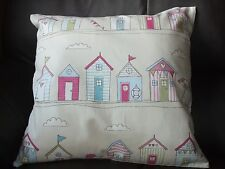 Beach hut theme Design Cushion Cover 42x42cms Double Sided. Thick Cotton