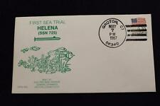 DRW NAVAL COVER #90A 1ST SEA TRIAL USS HELENA (SSN-725) 1987 HAND CANCEL