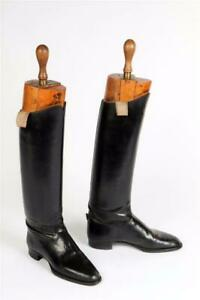 """Vintage c1900~ """"Peal & Co."""" Military Riding Boots with Original Boot Trees #2224"""