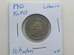 1955 Lebanon 10 Piastres coin