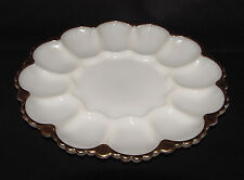 PERFECT Vintage Gold-Trimmed Ivory FIRE KING Egg Plate!!
