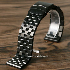 Ultimate negro correa de pulsera de acero para reloj Panerai Luminor 40mm 42mm PAM 22mm