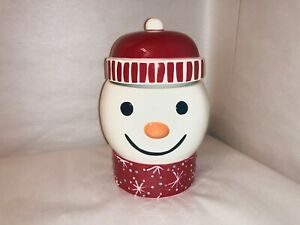 270806 Twenty Below Snowman Candy / Snack Jar with Snow Flake Christmas Decor