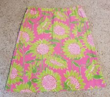 Lilly Pulitzer Silk Skirt Hot Pink Lime Green White Flowers Sz 6 Elastic Waist