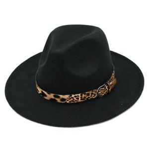 Women Wool Blend Panama Hat Felt Fedora Caps Wide Brim Sexy Leopard Leather Band
