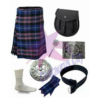 CC Men's Scottish Pride of Scotland 6 Yard Highland Tartan Kilt 8 Piece Set