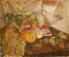 Russian Ukrainian Soviet Oil Painting Still Life realism pumpkin country