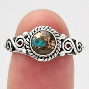 Natural Shell In Black Blue Turquoise 925 Sterling Silver Ring s.7 Jewelry E280