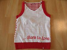 EDC by ESPRIT schönes Stricktop rot weiß Born to love Gr. S TOP MS1215