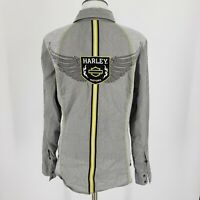 Harley-Davidson Women's Pearl Snap Embroidered Shirt Gray Green Stretch Sz M