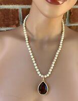 Signed CAROLEE Vintage Teardrop Brown Quartz Faux Pearls Gold Tone Necklace