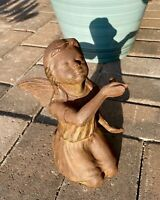 "Vintage Pre-2000 Cast Iron Young Girl Holding Bird Angel Cherub Garden 7"" Statue"