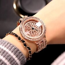 Luxury Elegant Women's Rose Gold Full Diamond Dress V Rotation Quartz Watches