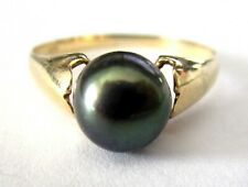 585 14K Gold Genuine Black Pearl Ring Size 6