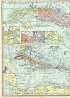1931 Antique Cuba and The CARIBBEAN ISLANDS Map Large West Indies Map 9479
