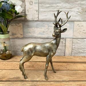 Antique Gold Stag Deer Reindeer Antlers Home Ornament Sculpture Statue Art Left