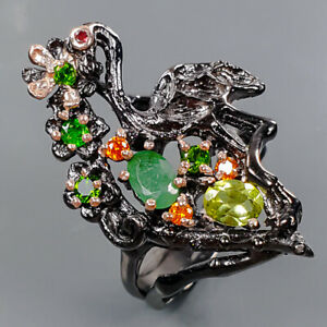 Handmade Design jewelry Emerald Ring Silver 925 Sterling  Size 6.5 /R176135