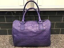 Furla Melanzana Purple Croc Embossed Leather D-light Bauletto Bag