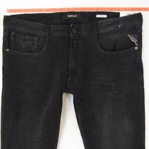 NEW Mens Replay M914 ANBASS Stretch Tapered Black Jeans W37 W36 L32 BNWT
