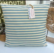 CUSHION COVER DUCK EGG BLUE ST IVES TICKING STRIPE FABRIC SEASIDE COASTAL SEA ;+