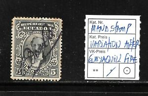 (57009) ECUADOR CLASSIC STAMPS HANDSTAMP VARIATION AFTER GUAYAQUILL FIRE