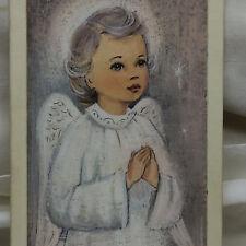 Vintage Winged Angel Painted Art Original Card Art
