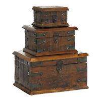 Zimlay Farmhouse Reclaimed Wood Set Of 3 Boxes 28700