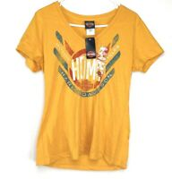 Harley Davidson Womens Short Sleeve V Neck T Shirt Yellow Size Large Nwt