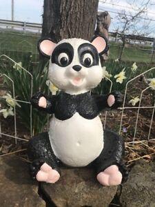 Vtg Cement Garden Art Panda Teddy Bear OLD & HEAVY! 34lbs! Door Stop SO CUTE!!