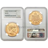 France 1858A Napoleon III 100 Francs Gold NGC AU55