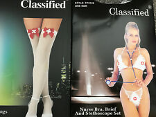 Sexy Fancy Dress Nurse stethoscope lingerie new Plus Opaque Stockings with bow