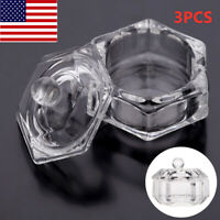 3PCS Crystal Glass Nail Art Acrylic Dappen Dish Bowl Cup Liquid Powder W/Cap Lid