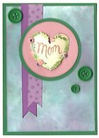 MOM Word Heart with Buttons Greeting Card - Handmade A2 size