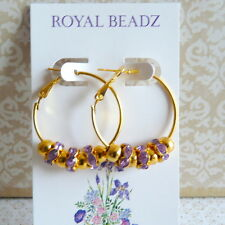 Bling Gold Hoop Earrings Lavender Purple Crystal Beads Basketball Wives Inspired
