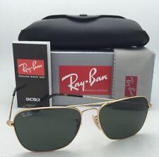 New RAY-BAN Sunglasses CARAVAN RB 3136 181 55-15 Gold & Havana Aviator w/ Green