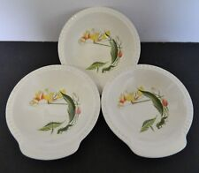 Salem China Co Water Lily Pattern Three Handled Dessert Bowls Fluted Edge