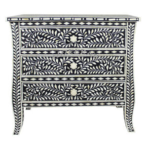 Handmade Curved Leg Antique Bone Inlay Floral Solid Wood Cabinet 3 Drawer