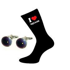 I Love Squash Socks & Squash Ball Cufflinks Gift Set X6VL043-BOC016