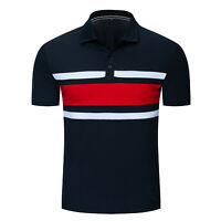 2020 New 100% Cotton Collage Men T-shirt Short Sleeve Color Matching Polo Shirt