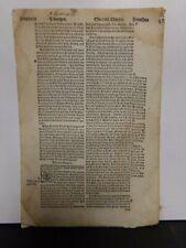 1549 Original Matthew Tyndale Bible Leaf. - Herbert's Ref #74-Wm Tyndale pic