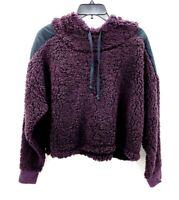 Z By Zella Sheila Fleece Hooded Pullover Contrast Detail Crop Plum Womens XL